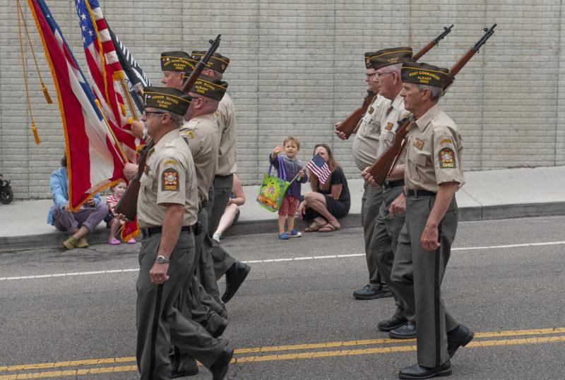 Veterans marching in parade